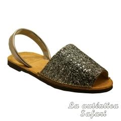 Sandalia ibicenca glitter Plata