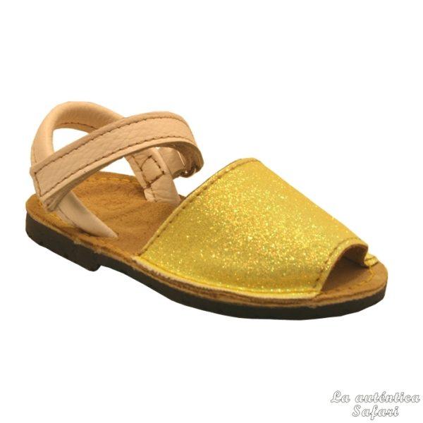 Sandalias ibicencas glitter con velcro Amarillo