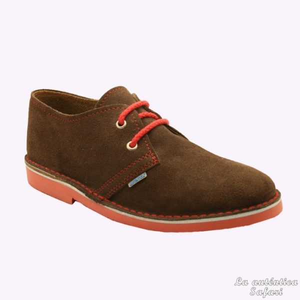 Zapato safari combinado Chocolate Rojo